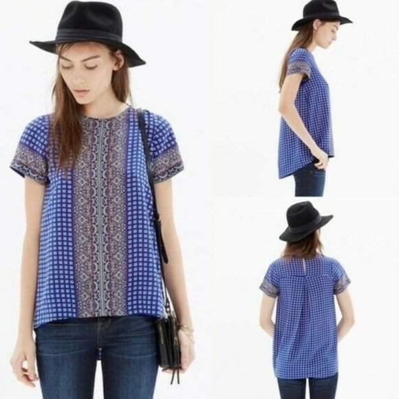 Madewell Short Sleeve Ascot Grid Blouse